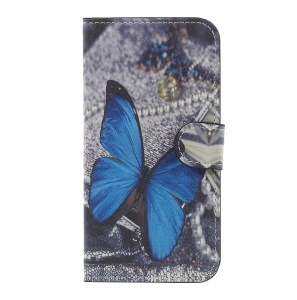 Pattern Printed Magnetic Stand PU Leather Cover for Samsung Galaxy J3 (2017) EU Version - Blue Butterfly