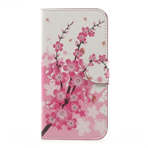 Pattern Printed Magnetic Stand PU Leather Protective Shell for Samsung Galaxy J3 (2017) EU Version - Peach Flower