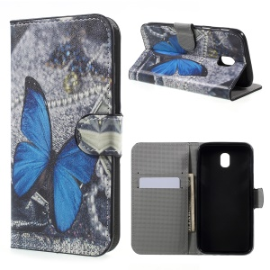 Water Transfer Printing Leather Wallet Stand Phone Case for Samsung Galaxy J5 (2017) EU Version - Blue Butterfly