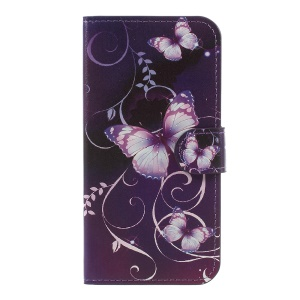 For Samsung Galaxy J5 (2017) EU Version Water Transfer Printing Leather Wallet Stand Case Cover - Purple Butterflies