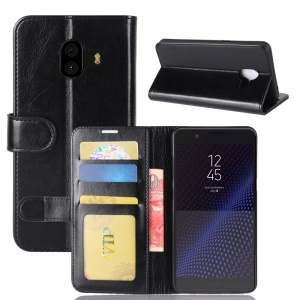 For Samsung Galaxy C10 Crazy Horse Texture Wallet Foldable Leather Case Cover - Black