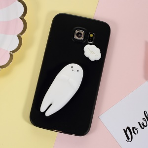 Ghost Squishy Kneading 3D Silicone Soft TPU Cover for Samsung Galaxy S6 edge SM-G925 - Black