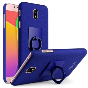 IMAK Ring Holder Kickstand Frost Plastic Phone Cover for Samsung Galaxy J7(2017) EU / Asia Version / J7 Pro - Blue