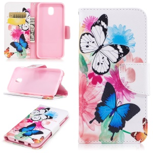 Pattern Printing PU Leather Wallet Protection Mobile Shell with Stand for Samsung Galaxy J3 (2017) EU Version - Flowers and Butterflies