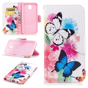Pattern Printing PU Leather Wallet Cover with Stand for Samsung Galaxy J5 (2017) EU Version - Butterflies and Flowers