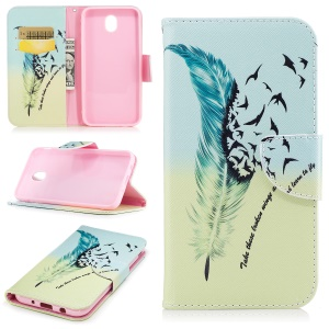 Pattern Printing Leather Magnetic Mobile Casing with Card Slots for Samsung Galaxy J5 (2017) EU Version - Feather Pattern
