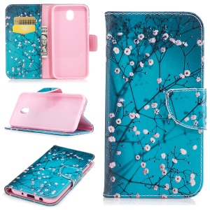 Pattern Printing Card Holder Leather Flip Stand Case Cover for Samsung Galaxy J5 (2017) EU Version - Tree with Flowers