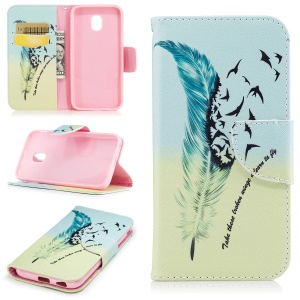 Pattern Printing Wallet Leather Stand Cell Phone Case for Samsung Galaxy J7 (2017) J730 EU Version - Feather