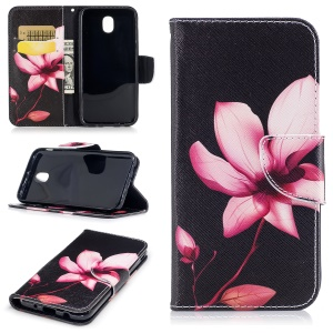 Pattern Printing Magnetic Leather Wallet Phone Casing Cover with Stand for Samsung Galaxy J5 (2017) EU Version - Flower