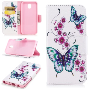 Pattern Printing Magnetic Leather Wallet Mobile Phone Cover with Stand for Samsung Galaxy J5 (2017) EU Version - Butterfly Flower