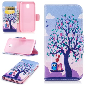 Pattern Printing Magnetic Leather Wallet Cellphone Cover with Stand for Samsung Galaxy J5 (2017) EU Version - Tree with Blossoming Flower and Two Owls