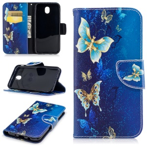 Pattern Printing Wallet Stand Leather Casing for Samsung Galaxy J7 (2017) EU Version - Blue Butterflies