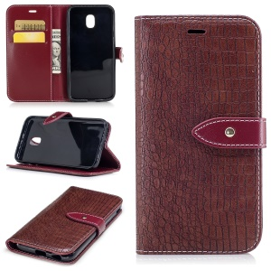Crocodile Texture Wallet PU Leather Stand Cover with Card Slots for Samsung Galaxy J3 (2017) EU Version - Wine Red
