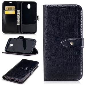 For Samsung Galaxy J5 (2017) J530 EU Version Crocodile Texture PU Leather Wallet Stand Mobile Phone Cover - Black