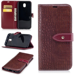 For Samsung Galaxy J5 (2017) J530 EU Version Crocodile Texture PU Leather Wallet Stand Cover - Wine Red