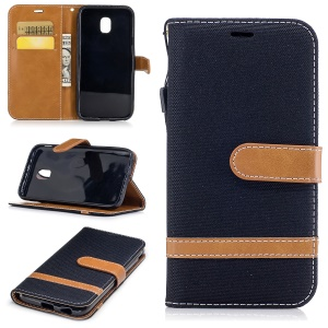Two-tone Jean Cloth Leather Wallet Stand Casing with Card Slots for Samsung Galaxy J3 (2017) EU Version - Black