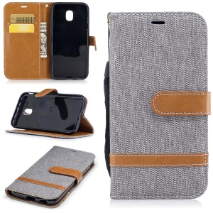 Two-tone Jean Cloth Leather Wallet Stand Case with Card Slots for Samsung Galaxy J3 (2017) EU Version - Grey