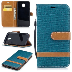 For Samsung Galaxy J3 (2017) EU Version Two-tone Jean Cloth Leather Wallet Stand Shell with Card Slots - Green