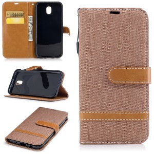 For Samsung Galaxy J5 (2017) J530 EU Version Two-tone Jean Cloth PU Leather Wallet Stand Cover - Khaki