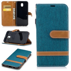 For Samsung Galaxy J5 (2017) J530 EU Version Two-tone Jean Cloth PU Leather Wallet Stand Case - Green