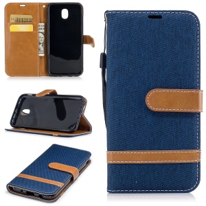 Two-tone Jean Cloth PU Leather Wallet Stand Phone Accessory Cover for Samsung Galaxy J5 (2017) J530 EU Version - Dark Blue