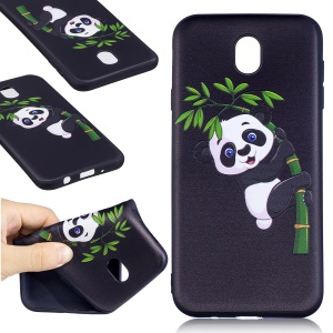 Soft Embossed Pattern Printing TPU Protective Cover for Samsung Galaxy J7 (2017) EU Version - Panda on Bamboo
