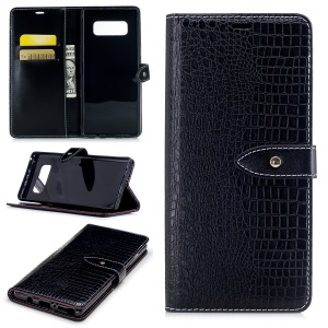 Crocodile Texture PU Leather Wallet Phone Cover with Stand for Samsung Galaxy Note 8 - Black