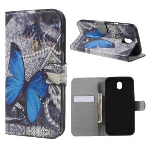 Water Transfer Printing Wallet Leather Case for Samsung Galaxy J7 (2017) EU Version - Blue Butterfly