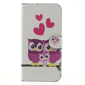 Magnetic Leather Mobile  Phone Case for Samsung Galaxy J7 (2017) EU Version - Sweet Owl Family