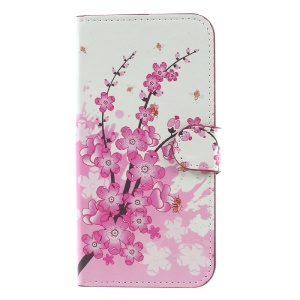 Water Transfer Printing Stand Leather Cover for Samsung Galaxy J7 (2017) EU Version - Plum Flower