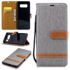 Two-tone Jean Cloth PU Leather Stand Phone Cover for Samsung Galaxy Note 8 - Grey