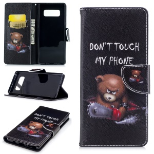 Pattern Printing PU Leather Wallet Stand Phone Cover for Samsung Galaxy Note 8 - Bear And Its Warnings