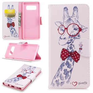 Pattern Printing PU Leather Wallet Stand Phone Accessory Case for Samsung Galaxy Note 8 - Giraffe Wearing Glasses