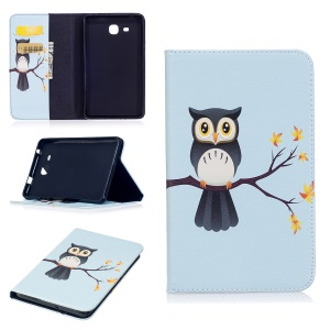Pattern Printing Leather Wallet Flip Stand Shell for Samsung Galaxy Tab A 7.0 T280 T285 - Adorable Owl