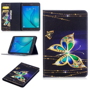 For Samsung Galaxy Tab A 8.0 T350 Pattern Printing PU Leather Wallet Stand Case - Golden Butterflies