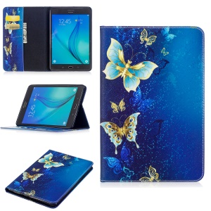 Pattern Printing PU Leather Wallet Magnetic Shell with Stand for Samsung Galaxy Tab A 8.0 T350 - Elegant Butterflies