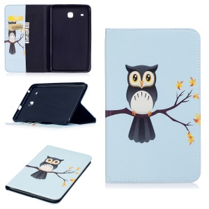 For Samsung Galaxy Tab E 8.0 T377 Pattern Printing Leather Wallet Protection Cover - Adorable Owl