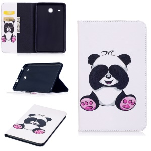 For Samsung Galaxy Tab E 8.0 T377 Pattern Printing Leather Wallet Protection Casing - Adorable Panda