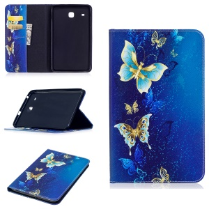 For Samsung Galaxy Tab E 8.0 T377 Pattern Printing Leather Wallet Protection Shell - Gold and Cyan Butterfly