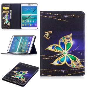 For Samsung Galaxy Tab S2 8.0 T710 T715 Pattern Printing Leather Wallet Protection Cover - Butterfly with Diamond