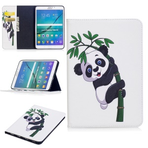 For Samsung Galaxy Tab S2 8.0 T710 T715 Pattern Printing Leather Wallet Protection Case - Panda on Bamboo