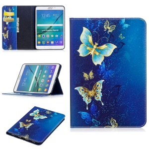 For Samsung Galaxy Tab S2 8.0 T710 T715 Pattern Printing Leather Wallet Protection Shell - Gold and Cyan Butterfly