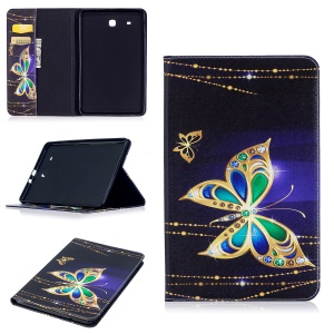For Samsung Galaxy Tab E 9.6 T560 Pattern Printing PU Leather Wallet Stand Case - Butterfly with Diamond