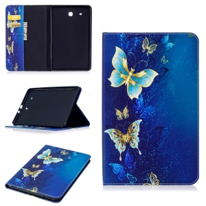 For Samsung Galaxy Tab E 9.6 T560 Pattern Printing PU Leather Wallet Stand Cover - Gold and Cyan Butterfly