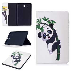 For Samsung Galaxy Tab E 9.6 T560 Pattern Printing PU Leather Wallet Stand Casing - Panda on Bamboo