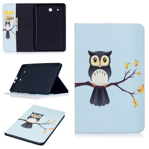 For Samsung Galaxy Tab E 9.6 T560 Pattern Printing PU Leather Wallet Stand Casing Cover - Owl