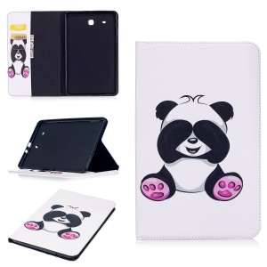 For Samsung Galaxy Tab E 9.6 T560 Pattern Printing PU Leather Wallet Stand Shell - Panda