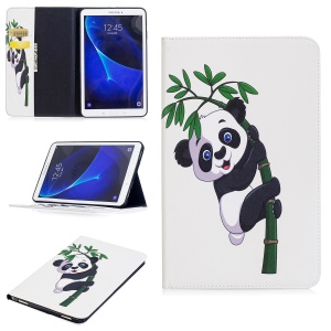 Pattern Printing Leather Wallet Flip Shell for Samsung Galaxy Tab A 10.1 (2016) T580 T585 - Panda and Bamboo