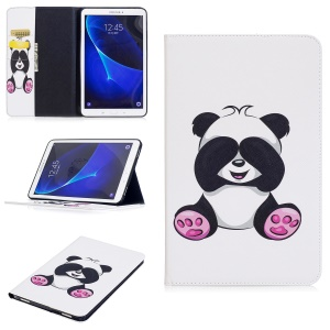 Pattern Printing Leather Wallet Flip Cover for Samsung Galaxy Tab A 10.1 (2016) T580 T585 - Cute Panda
