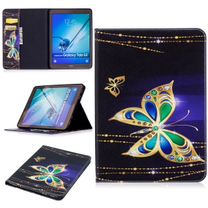 Patterned Leather Wallet Flip Case for Samsung Galaxy Tab S2 9.7 T810 T815 - Butterfly with Diamond